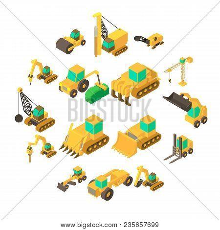 Building Vehicles Icons Set. Isometric Cartoon Illustration Of 16 Building Vehicles Vector Icons For
