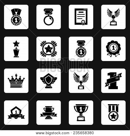 Awards Medals Cups Icons Set. Simple Illustration Of 16 Awards Medals Cups Vector Icons For Web