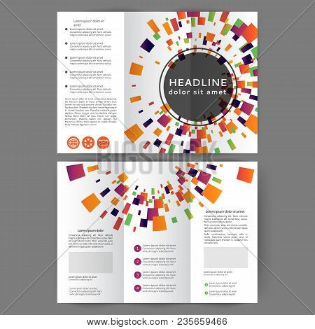 Color Tri Fold Business Brochure Design Template With Geometric Elements