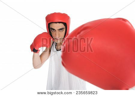 Close Up View Of Fist In Boxing Glove Of Young Sportsman Isolated On White
