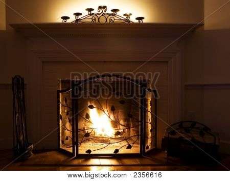 Cozy Fireplace With Burning Fire