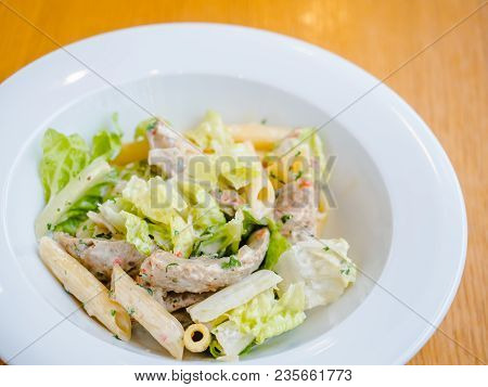 Pasta With Iceberg Salad, Caesar Sauce And Chicken