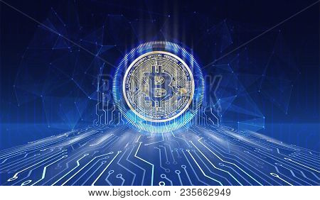 Crypto Currency Bitcoin. Net Banking And Bitcoins Mining Vector Concept. Currency Cryptography Minin