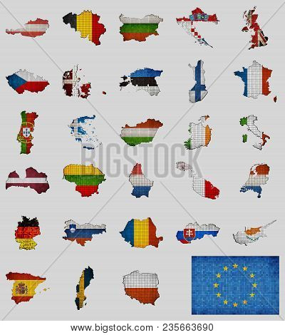 Collection Of Map And Flags Of The European Union Countries - Illustration, Mosaic Map With Flag Ins