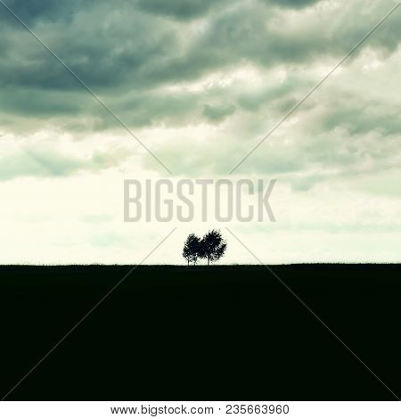 Minimalist Single Tree Silhouette. Concept Of Loneliness, Depression, Escape, Friendship, Support, C
