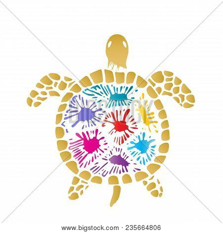 Sea Turtle With Colored Blots On The Shell