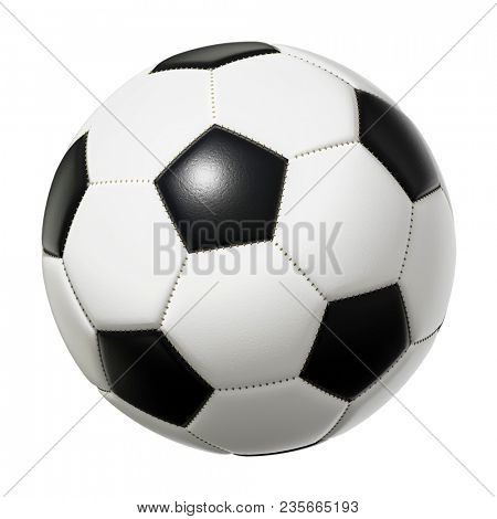 3d illustration of a typical black and white soccer ball isolated on white background