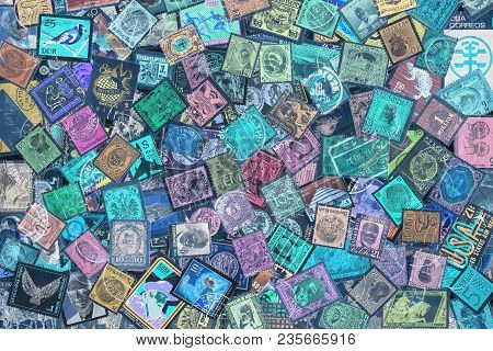 Old Postage Stamps From Different Countries, About 1870s - 1960s, Negative, Background