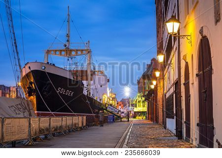 Gdansk, Poland - April 5, 2018: SS SOLDEK on Motlawa river in Gdansk. SS SOLDEK is the first ship built in Poland after World War II. Currently is preserved as a museum ship in Gdansk.