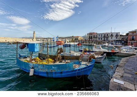 RETHYMNO, CRETE, GREECE - March 7, 2016: A view of the old Venetian harbour