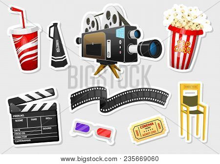 Movie Stickers. Vintage Cinema, Entertainment And Recreation With Popcorn. Retro Poster Background.