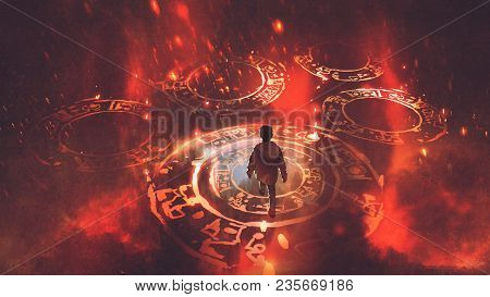 Boy Walking On Magic Circles Or Sacred Symbols In The Air With, Digital Art Style, Illustration Pain