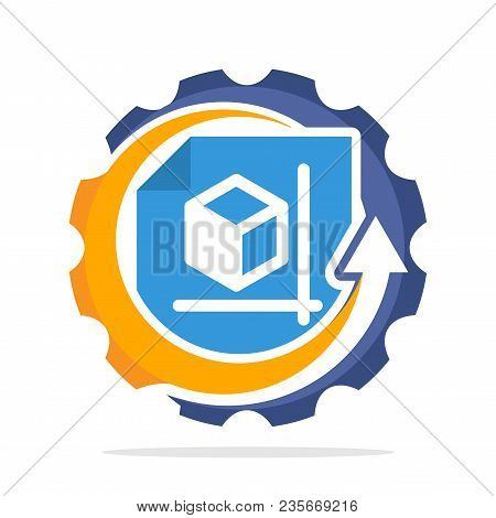 Logo Icon With The Concept Of Implementation Of Technical Drawing, Blueprint Planning Process