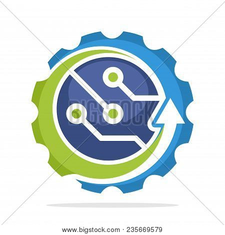 Logo Icon With Advanced Technology Development Concept