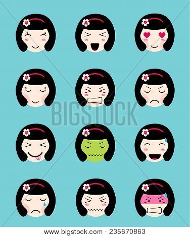 Cute Emoji Collection. Kawaii Asian Girl Face. Set Of Flat Emoticon In Anime Style. Japanese Girl Ic