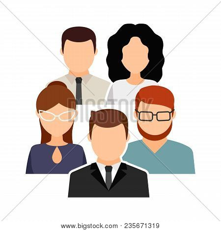 Collective, Team.  Men And Women In Office Clothes. Vector Flat Illustration.