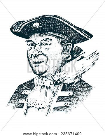 Pirate Portrait. Captain Man On Ship Traveling Through The Oceans And Seas. Marine Adventure Of Sail