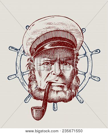 Sea Captain And Steering Wheel, Marine Old Sailor With Pipe Or Bluejacket, Portrait Of The Seaman. T