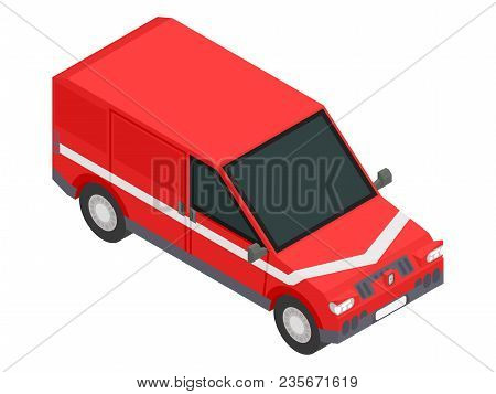Red Isometric Car For Transportation Of Goods Stock Vector Image Illustration