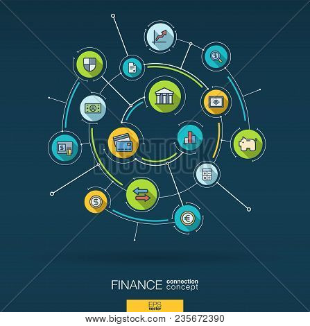 Abstract Finance, Bank Technology, Payment Background. Digital Connect System With Integrated Circle