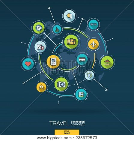 Abstract Travel And Tourism Background. Digital Connect System With Integrated Circles, Flat Icons.