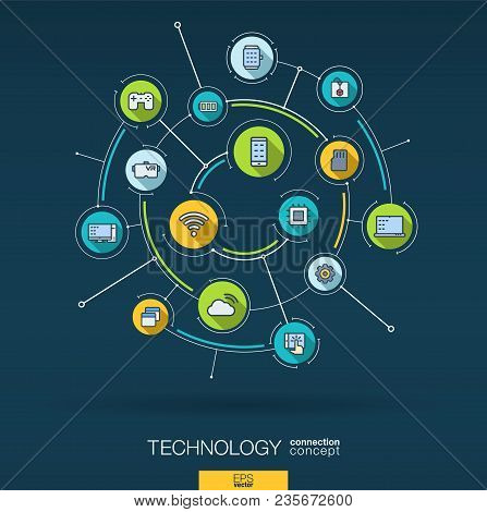 Abstract Wireless Technology Background. Digital Connect System With Integrated Circles, Flat Icons,
