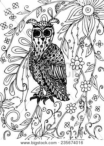Zentangle Style Owl On Flower Background Monochrome Sketch, Coloring Page Antistress Stock Vector Il
