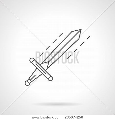 Symbol Of Single Sword. Ancient Or Scandinavian Warrior Weapon. Flat Black Line Vector Icon.
