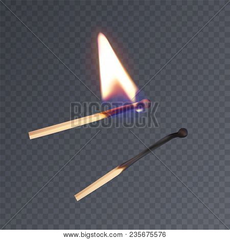 Realistic Matches, Lighted Match And Burned Match. Vector Eps 10 Illustration On Dark Background