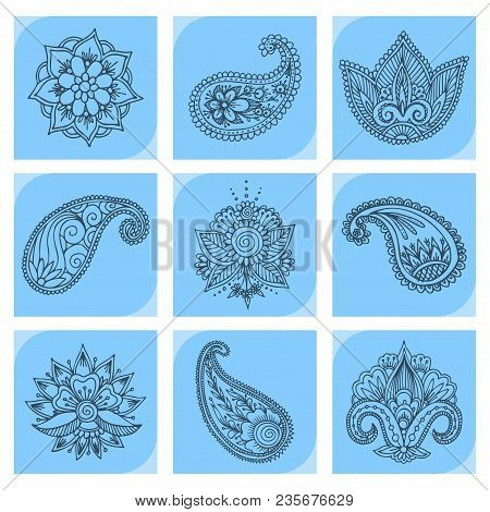 Henna Tattoo Mehndi Flower Template Doodle Ornamental Lace Decorative Element And Indian Design Patt