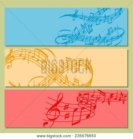 Notes Music Melody Banner Colorfull Musician Symbols Sound Melody Text Writting Audio Symphony. Musi