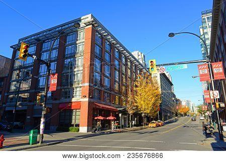Vancouver - Nov 11, 2014: Historic Buildings On Davie Street At Mainland Street In Yaletown In Vanco