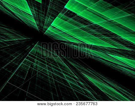 Technology Perspective Background - Abstract Computer-generated Image. Surface With Chaos Grid. High