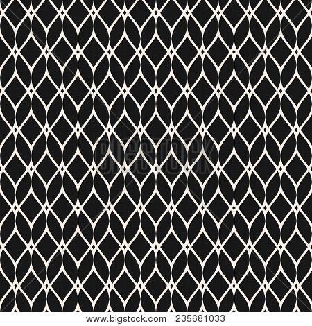 Mesh Seamless Pattern, Thin Wavy Lines. Texture Of Lace, Weaving, Net, Lattice. Subtle Monochrome Ge