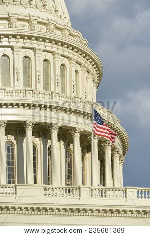 United States Capitol Building in a dramatic cloudy day - Washington D.C. United States of America