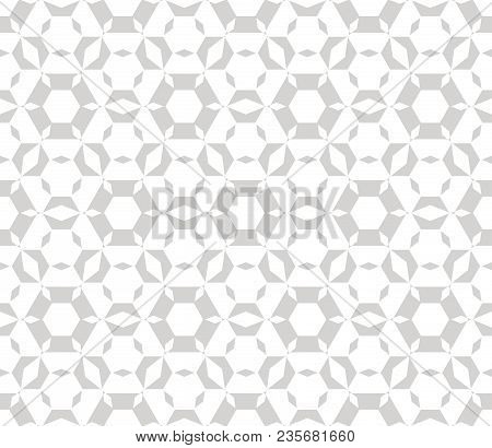 Subtle Vector Geometric Seamless Pattern. Modern Stylish Texture. Repeat Ornament With Hexagonal Ele