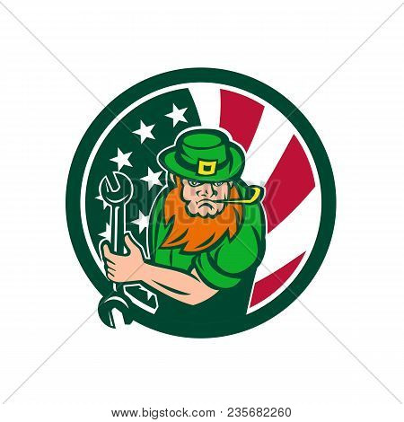 Icon Retro Style Illustration Of An Irish-american Mechanic Who Is A Leprechaun Mascot With United S