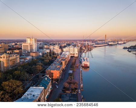 Aerial view of downtown Savannah, USA, and River Street.