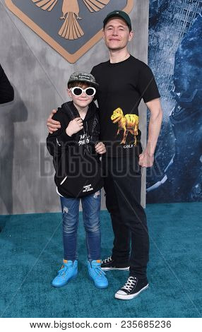 LOS ANGELES - MAR 21:  Burn Gorman and Max Gorman arrives to the