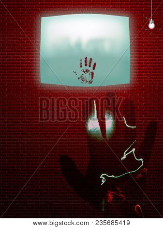 Bloody hand print on wall screen. 3D rendering