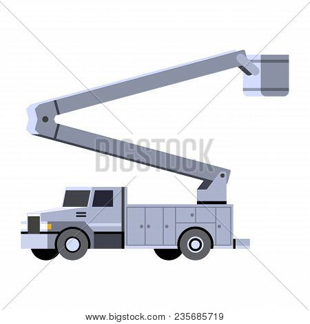 Minimalistic Icon Bucket Truck Front Side View. Aerial Work Bucket Vehicle. Vector Isolated Illustra
