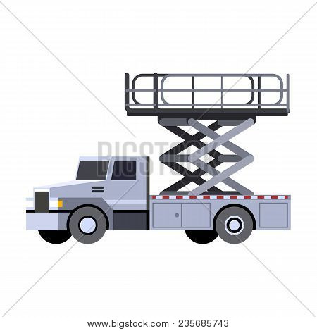 Minimalistic Icon Aerial Man Lift Truck Front Side View. Aerial Work Platform Vehicle. Vector Isolat