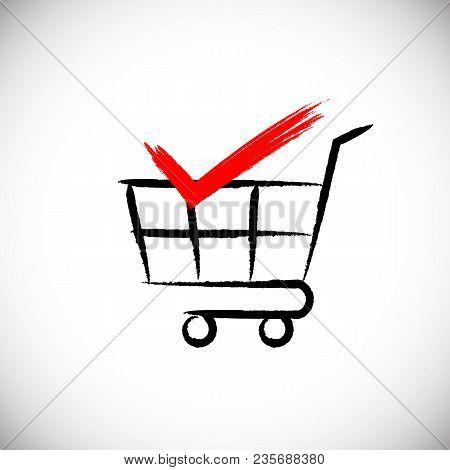 Shopping Cart And Check Mark Icon. Brush Style Illustration.