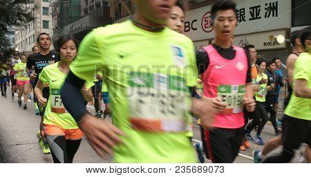 Causeway Bay, Hong Kong 21 January 2018:- Standard chartered marathon in Hong Kong