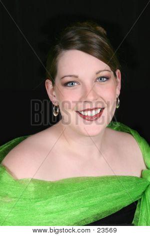 Beautiful Twenty-Five Year Old Woman In Green Formal