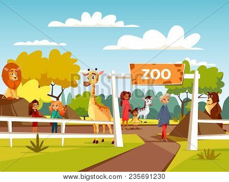 Zoo Vector Illustration Or Petting Zoo Cartoon Design. Open Zoo Wild Animas And Visitors Family With