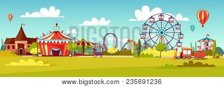 Amusement Park Vector Illustration Of Cartoon Attraction Rides And Circus Tent. Flat Background Desi