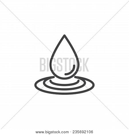 Water Drop And Spill Outline Icon. Linear Style Sign For Mobile Concept And Web Design. Water Splash