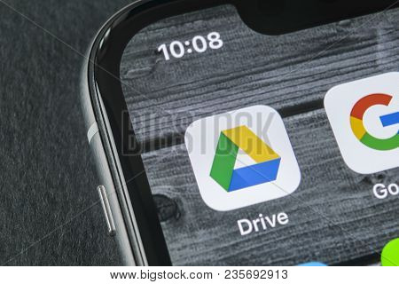 Sankt-petersburg, Russia, April 11, 2018: Google Drive Application Icon On Apple Iphone X Screen Clo
