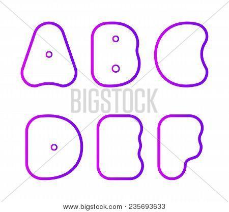 Vector Set Of Super Bold Capital Round Font, Letter A, B, C, D, E, F